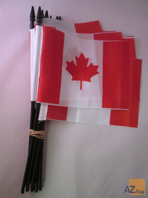 DRAPEAU CANADA 15x10cm avec HAMPE - LOT DE 10 DRAPEAUX CANADIEN 10 x 15 cm