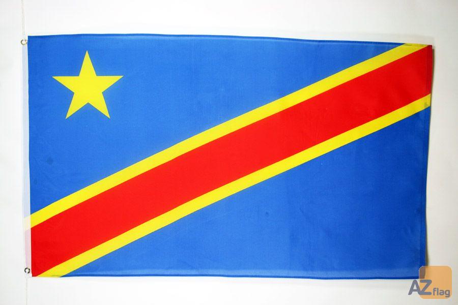 DRAPEAU RÍ?PUBLIQUE DÍ?MOCRATIQUE DU CONGO 150x90cm - DRAPEAU CONGOLAIS 90 x 150 cm Polyester léger