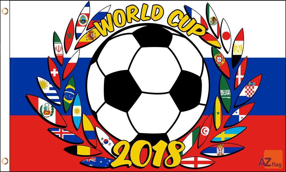 DRAPEAU RUSSIE COUPE DU MONDE DE FOOTBALL 2018 COURONNE DE LAURIER 150x90cm - DRAPEAU CHAMPIONNAT DU MONDE 90 x 150 cm - DRAPEAUX