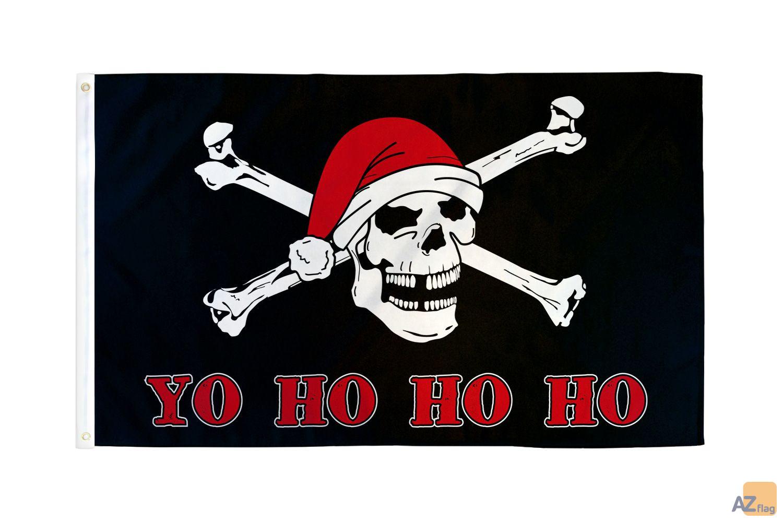 Drapeau Père Noël Pirate Yo Ho Ho Ho 150x90cm - Drapeau Santa Christmas 90 x 150 cm - Drapeaux