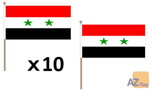 DRAPEAU SYRIE 45x30cm HAMPE en bois - LOT DE 10 DRAPEAUX SYRIEN 30 x 45 cm