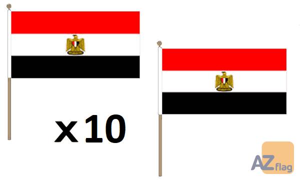 DRAPEAU EGYPTE 45x30cm HAMPE en bois - LOT DE 10 DRAPEAUX EGYPTIEN 30 x 45 cm