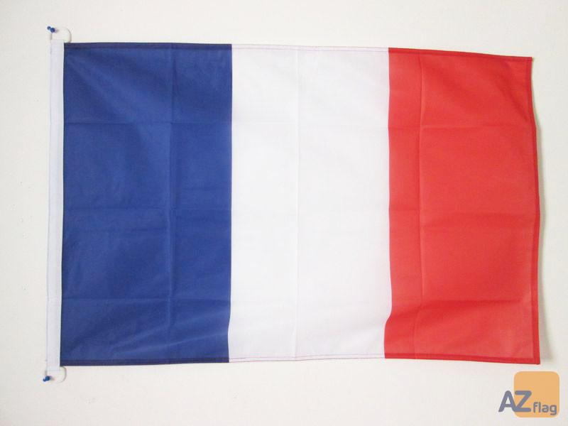 PAVILLON NAUTIQUE FRANCE 45x30cm - DRAPEAU DE BATEAU FRANÇAIS 30 x 45 cm
