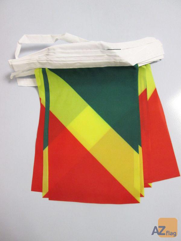 Guirlande 12 mètres 20 Drapeaux République du Congo 45x30 cm - Drapeau congolais 30 x 45 cm