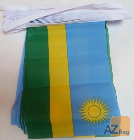 Guirlande 12 mètres 20 Drapeaux Rwanda 45x30 cm - Drapeau rwandais 30 x 45 cm