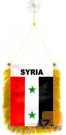 FANION SYRIE 15x10cm - Mini drapeau SYRIEN 10 x 15 cm spécial voiture - Bannière