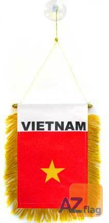 FANION VIETNAM 15x10cm - Mini drapeau VIETNAMIEN 10 x 15 cm spécial voiture - Bannière