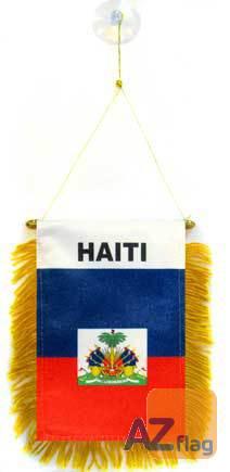 FANION HAÏTI 15x10cm - Mini drapeau HAÏTIEN 10 x 15 cm spécial voiture - Bannière