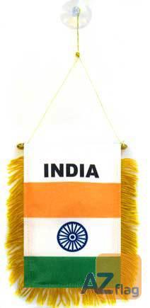 FANION INDE 15x10cm - Mini drapeau INDIEN 10 x 15 cm spécial voiture - Bannière