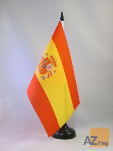 DRAPEAU DE TABLE ESPAGNE 21x14cm - PETIT DRAPEAUX DE BUREAU ESPAGNOL 14 x 21 cm