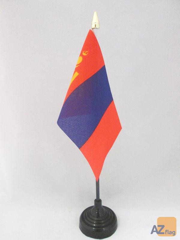 DRAPEAU DE TABLE MONGOLIE 15x10cm - PETIT DRAPEAUX DE BUREAU MONGOL 10 x 15 cm pointe dorée