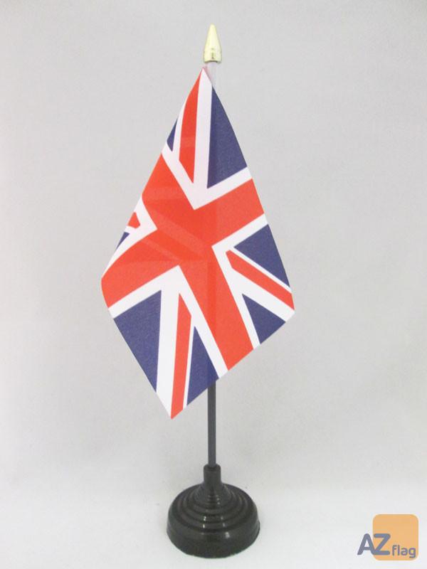 DRAPEAU DE TABLE ROYAUME-UNI 15x10cm - PETIT DRAPEAUX DE BUREAU ANGLAIS - UK - GRANDE BRETAGNE 10 x 15 cm pointe dorée