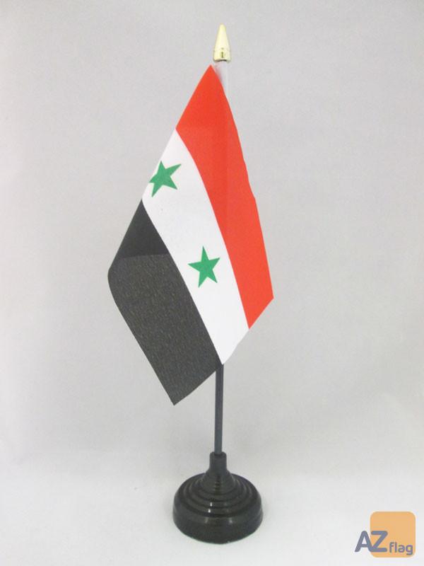 DRAPEAU DE TABLE SYRIE 15x10cm - PETIT DRAPEAUX DE BUREAU SYRIEN 10 x 15 cm pointe dorée