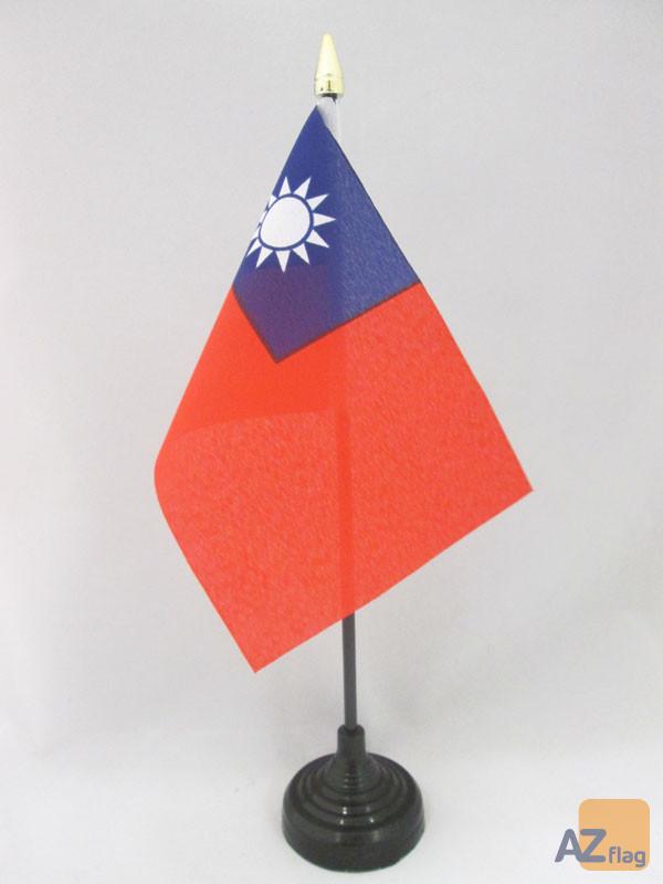 DRAPEAU DE TABLE TAIWAN 15x10cm - PETIT DRAPEAUX DE BUREAU TAÏWANAIS 10 x 15 cm pointe dorée