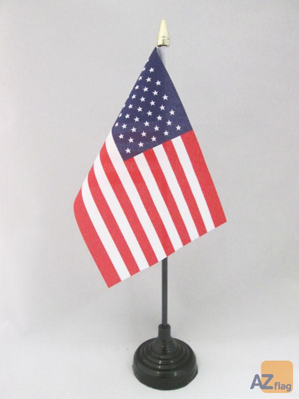 DRAPEAU DE TABLE ETATS-UNIS 15x10cm - PETIT DRAPEAUX DE BUREAU AMÉRICAIN - USA 10 x 15 cm pointe dorée
