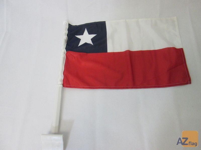 Drapeau de voiture CHILI 45x30cm en maille bloquée - Carflag CHILIEN 30 x 45 cm