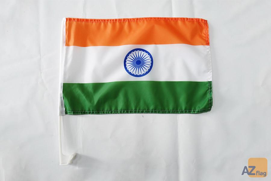 Drapeau de voiture Inde 45x30cm - Carflag indien 30 x 45 cm