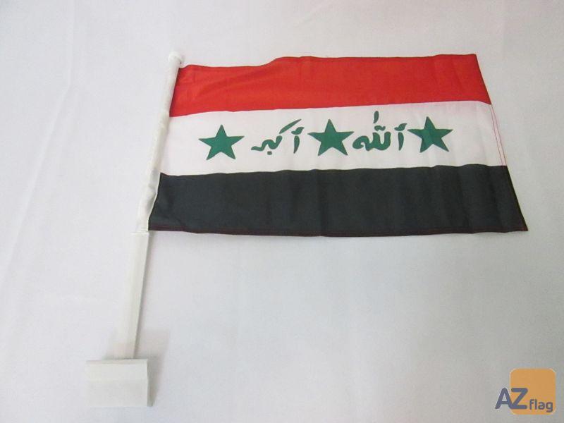 Drapeau de voiture IRAK 45x30cm en maille bloquée - Carflag IRAKIEN 30 x 45 cm