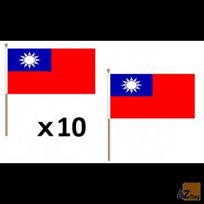 DRAPEAU TAIWAN 45x30cm HAMPE en bois - LOT DE 10 DRAPEAUX TAÏWANAIS 30 x 45 cm