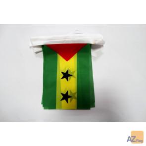 Guirlande 6 mètres 20 Drapeaux Sao Tomé 21x15 cm - Drapeau santoméen 15 x 21 cm