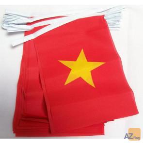 Guirlande 12 mètres 20 Drapeaux Vietnam 45x30 cm - Drapeau vietnamien 30 x 45 cm