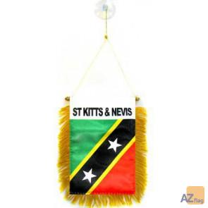 FANION SAINT KITTS ET NEVIS 15x10cm - Mini drapeau KITTITIEN-NEVICIEN 10 x 15 cm spécial voiture - Bannière