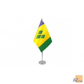 DRAPEAU DE TABLE prestige SAINT VINCENT 22x15cm en SATIN - GRAND DRAPEAUX DE BUREAU SAINT-VINCENTAIS 15 x 22 cm