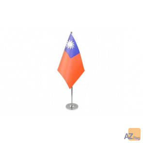 DRAPEAU DE TABLE prestige TAIWAN 22x15cm en SATIN - GRAND DRAPEAUX DE BUREAU TAÏWANAIS 15 x 22 cm