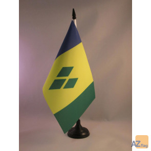 DRAPEAU DE TABLE SAINT VINCENT 21x14cm - PETIT DRAPEAUX DE BUREAU SAINT-VINCENTAIS 14 x 21 cm